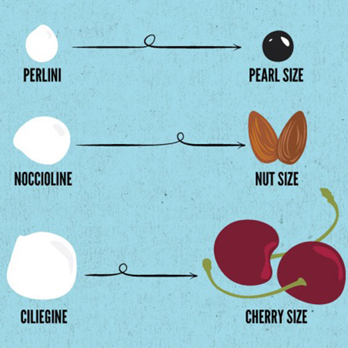 Illustration of mozzarella sizes compared to cherries, nuts and pearls