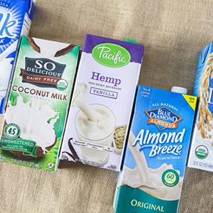 Silk soy milk, So Delicious coconut milk, Blue Diamond Almond Breeze, and Rice Dream rice drink