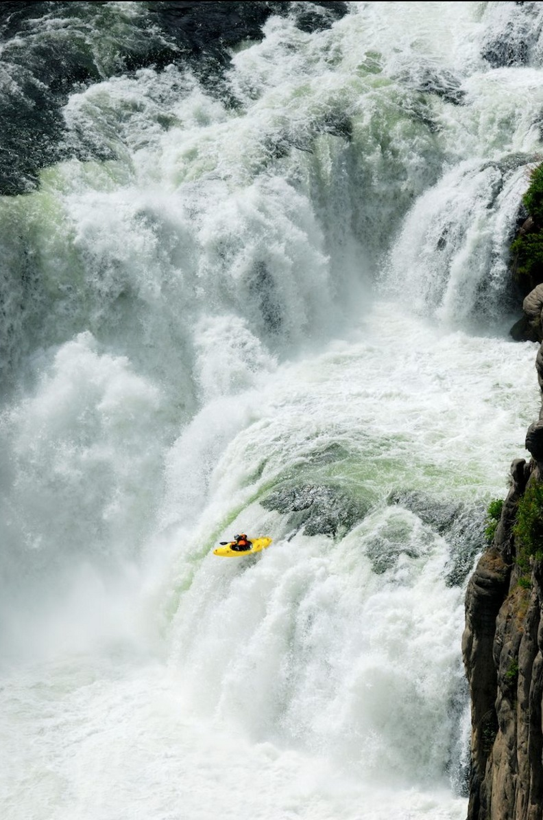 Kayaker in rough water
