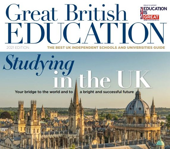 """The cover of the Great British Education magazine """"Studying in the UK"""""""