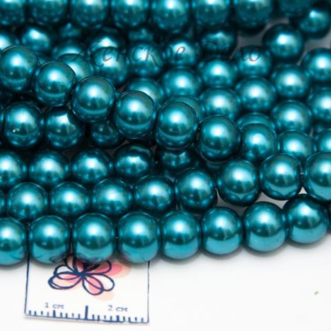 Стеклянный жемчуг цвета морской волны 8 мм арт. 21460
