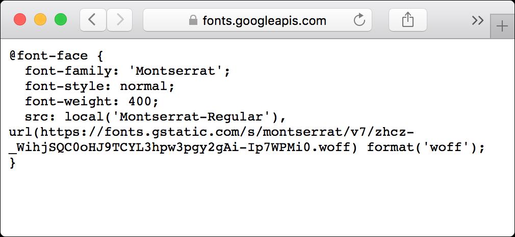 Web font CSS.