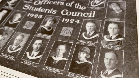 archival image of the Alberta School of Business 1923-1924 student council