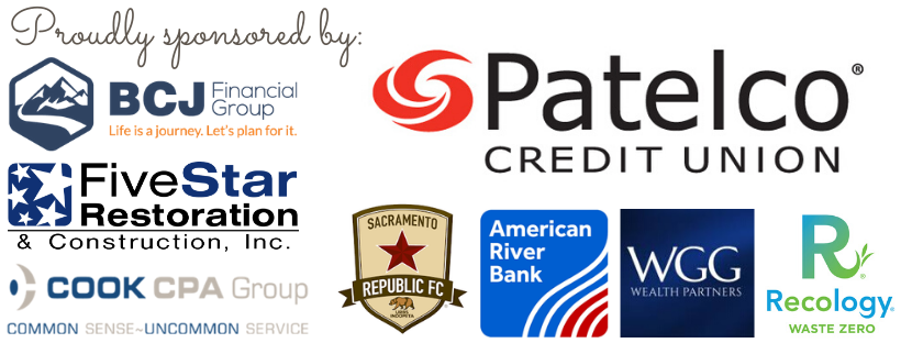 Sponsor collage: Patelco Credit Union, BCJ Financial, Five Star Restoration, Cook CPA, Sacramento Republic FC, American River Bank, WGG Wealth Partners, Recology Auburn Placer