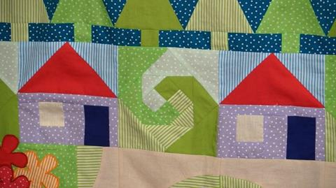 Cosy Cottages Row of Jennie's Stripy Stripey Story Quilt
