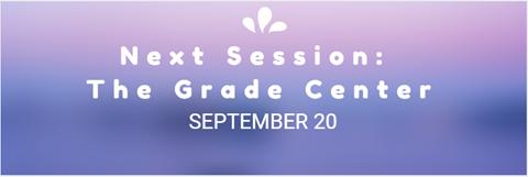Next Session: The Grade Center September 20