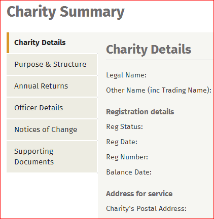Screenshot of Charity Summary section of the Charities website