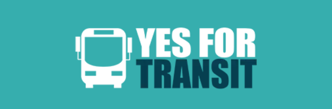 """Yes for Transit campaign logo. Icon of bus and text """"Yes for Transit"""" on a turquoise blue background."""