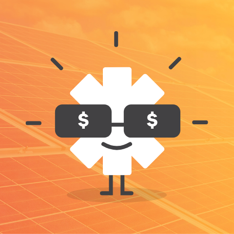 sun character with dollar glasses