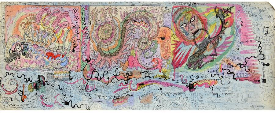 Untitled, Rumball, 1960s. Colored ink on paper, 23.5 x 58.2 cm (9.3 x 22.9 in.)