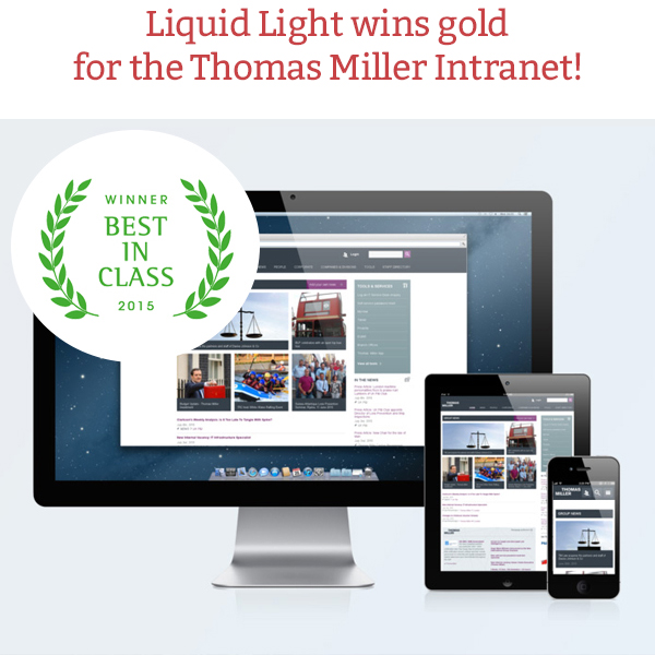 Liquid Light wins gold for the Thomas Miller Intranet project!