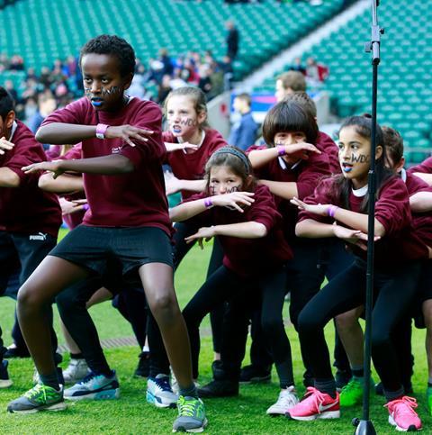 Children performing the Haka