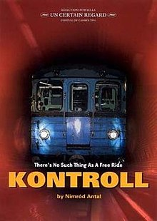 Movie poster for Kontroll. Subway in red tunnel with yellow text that spells out Kontroll.