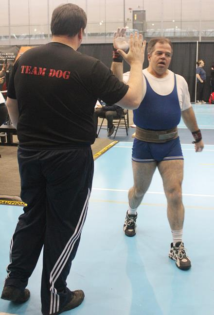 Special Olympics BC athlete Dave and coach George in 2014
