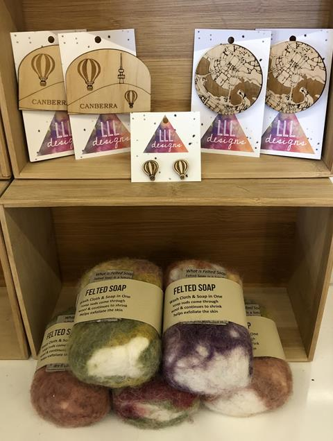 Handmade soaps and jewellery, available from the Little Corner Shop