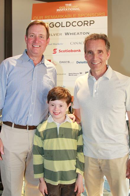 Goldcorp's Chuck Jeannes with SOBC athlete Oliver Sutherland and father James.
