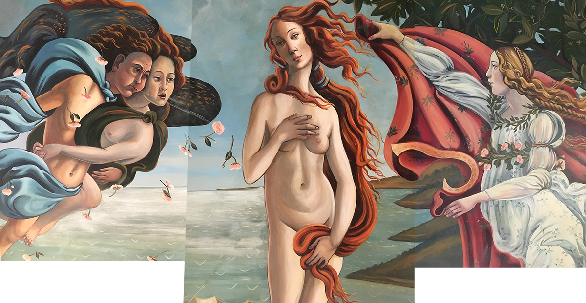 Compilation detail, Birth of Venus ceiling mural.