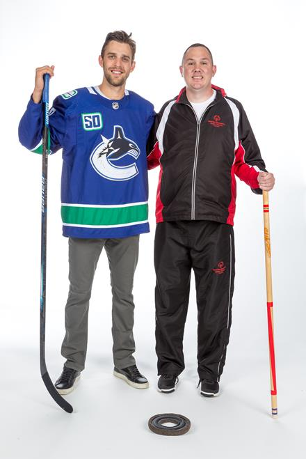 SOBC athlete Michael Langridge and Canucks forward Brandon Sutter