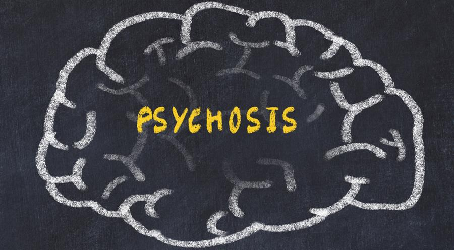 Image of brain with word psychosis written in yellow