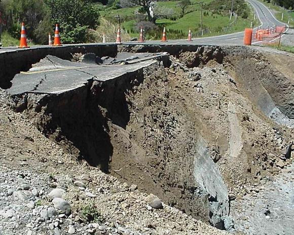 A road lane crumbled away.