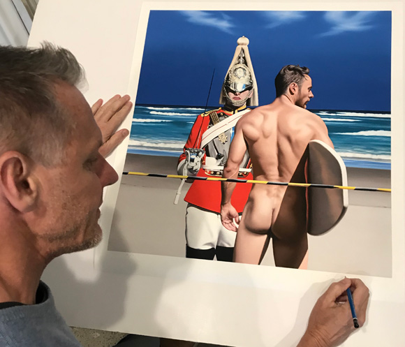 Ross Watson this week signing his new Edition Print of Two Life Guards