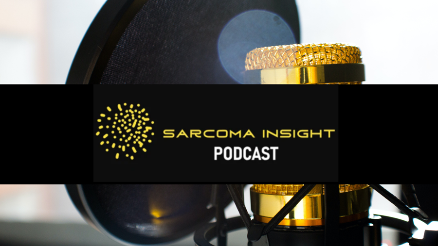"""This photo features a golden microphone in the background and a black band that has golden letters saying """"Sarcoma Insight Podcast"""" on it"""